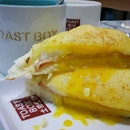 Cheesy Ham & Egg Thick Toast Set (with Milk Tea)(S$6.30).