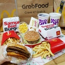 💚 [GRAB FOOD] McDonald's Double Samurai Beef Burger Value Meal (S$10.50), Big Mac Value Meal (S$7.75) and Creamy Herb Chicken Pie (S$2.30) 💚  The Samurai Burger is back and my preference is always the double beef option.