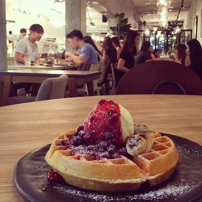 The #berry compote was so delicious with the #waffles and #icecream.