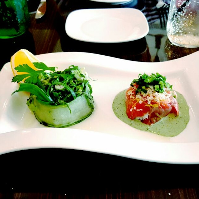 Fresh Crab Meat & Salmon Purse With Watercress Sauce