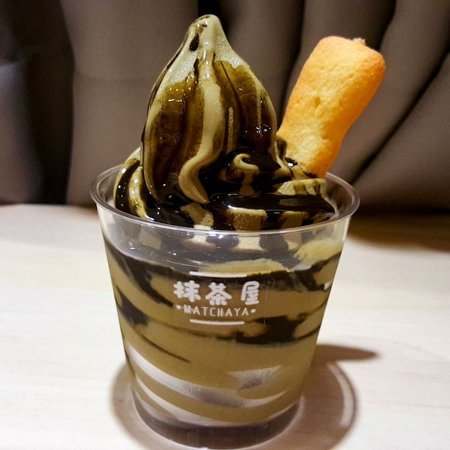 Houjicha Soft Serve Topped With Houjicha Syrup ($5.90 + $1)