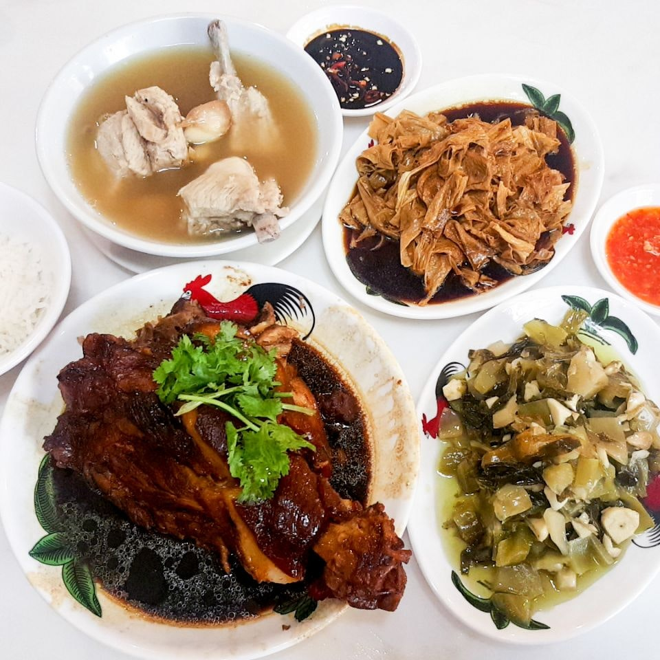 Bak Kut Teh With Pig's Trotter, Braised Beancurd Skin And Preserved Vegetables