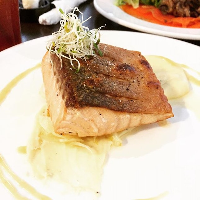 Salmon with Truffle Mash and Orange sauce :) it's been awhile since I visited a cafe!