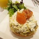 Smoked Salmon Bagel Stacked; I like the creamy egg mayo!