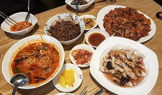Set A comprises of JjaJangMyeon, Jjamppong & Tangsuyuk ($45) & KimchiJeon ($18).