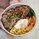 @twohanasg Striploin Bap ($13.00++) Kimgarou rice topped with generous servings of kimchi, spinach and beansprout namul, caramelised onions and poached egg, crowned with perfectly-seared striploin slices.