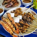 Satay, Grilled Prawns and Chicken Wings.