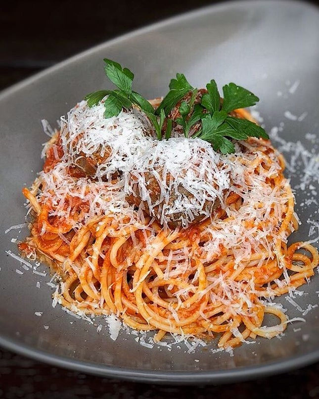 CMB Spaghetti and Meatballs ($15++) Twirl into tomato sauce pasta beefed with meatballs, a classic choice.