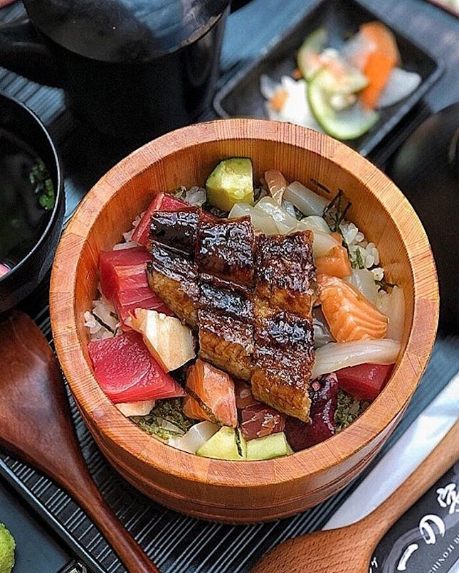 Unagi Kaisen Hitsumabushi Set ($33.80) Spoon through pearlescent globes of Japanese rice heaped with glistening dices of assorted sashimi and a brilliantly charred unagi.