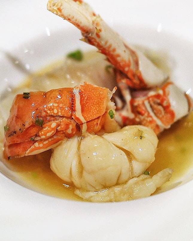 Stewed Inaniwa Udon with Lobster in Superior Soya Sauce at Hai Tien Lo @panpacificsingapore .