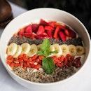 Riviera Wellness Bowl ($18++) with granola, honey yoghurt, goji berries, banana, strawberries and chia seeds.