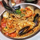 Linguine Alloscoglio ($34.00) An authentic Southern Italian Seafood Paata with Prawns, Scallops, Mussels, Clams and Cherry Tomatoes .
