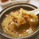 Braised Fish Maw Broth and Dried Scallops 黄焖干贝鱼鳔羹 Part of the 8-course Abundance Menu at $1288.00++ per table of 10 guests.