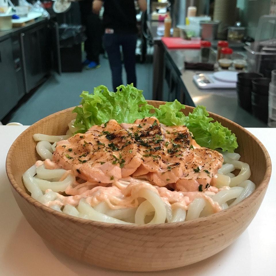 Salmon Mentaikoyaki + Udon ($9.90)