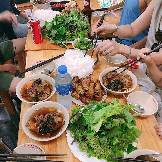 Bun Cha Dac Kim  Location 🗺: 1 Hàng Mành, Hàng Gai, Hoàn Kiếm, Hà Nội, Vietnam  MRT 🚇: -  Opening Hours 🕒: 9AM - 9PM  Rating 📈: 7.5/10  Price 💸: 90,000 VND (per set)  Review 💬: Totally get why this place is so popular!