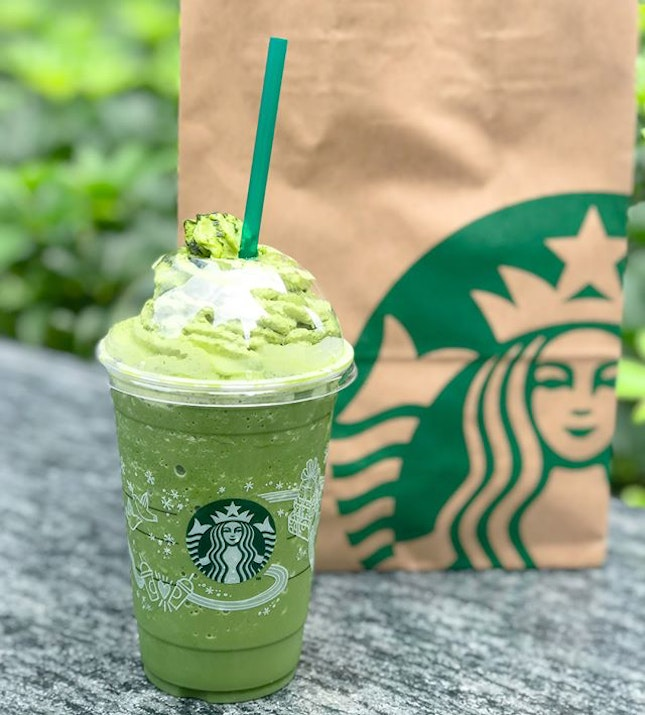 Matcha soy frappe [Venti: $8.50] Not usually a Starbucks person but since there's a complimentary welcome reward in my card, why not?