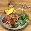 Weekday set lunch: Grilled chicken thigh stuffed with creamy truffle mushroom [$14.50+] .