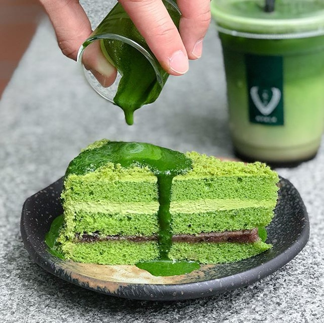 Matcha azuki cake [$7.50] .