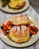 Soufflé pancakes with maple syrup [$4.50] Turkey ham & eggs toast [$6] .
