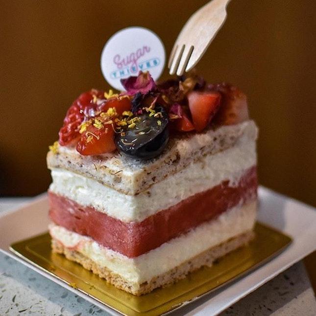 Strawberry watermelon cake [$8.90] .