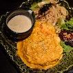 Omurice combo [$12.90] Add on:  Teriyaki chicken hamburg [+$3/pc]  Special cheese sauce [+$2] .