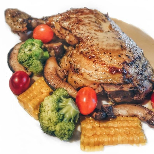 Grilled Free-range Chicken ($14.90+): The homemade brown sauce here is a nice, tangy complement to the decently tender and gigantic sous vide chicken thigh.