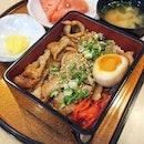 Kurobuta Toro Yakiniku Jyu ($22.80++) generous slices of pork cheeks along with a bowl of miso soup and some watermelon.