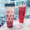Liho's newest drinks: the Strawberry Latte (L) and Strawberry Green Tea (R) (both $6.60 for medium size and $7.60 for large size which is pictured here).