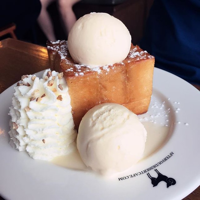 Nothing we have tried has come close to this — light, fluffy, buttery with that two scoops of vanilla ice cream, lightly whipped cream and almonds.