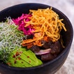 Part of the lunch menu at Fynn's, a beautiful Australian café at the South Beach, the Poke Bowl is worth trying.