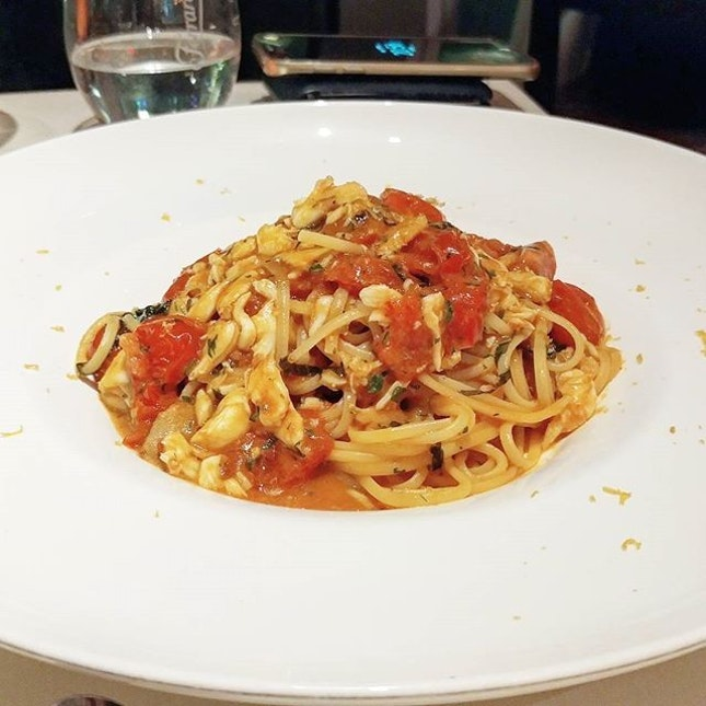 Spanner crab linguine ($42++) with a tomato base.