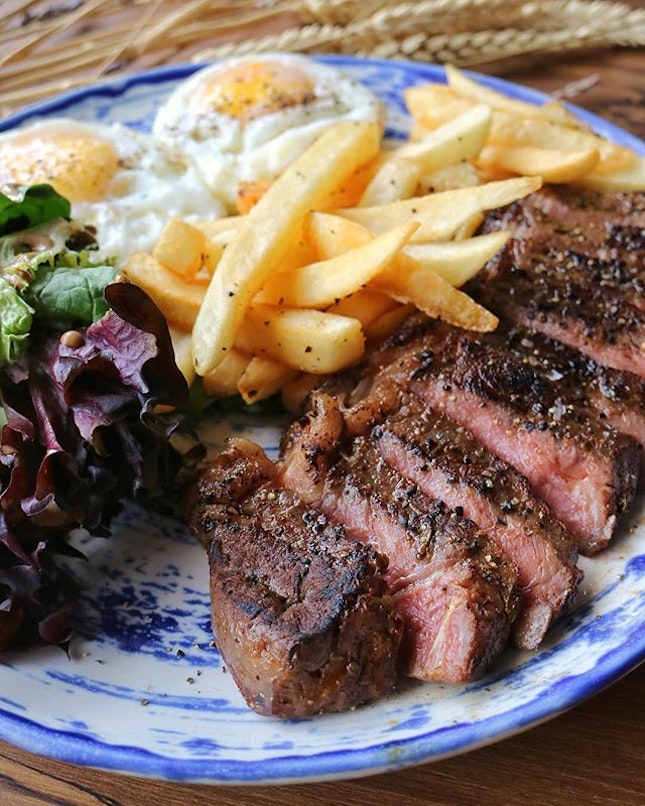 A good piece of steak is hard to come by, not at the price point of $14 at least.