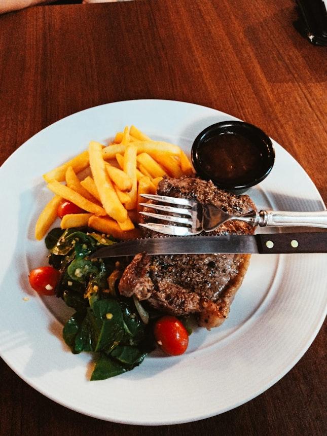 Sirloin Steak & Crispy Fish