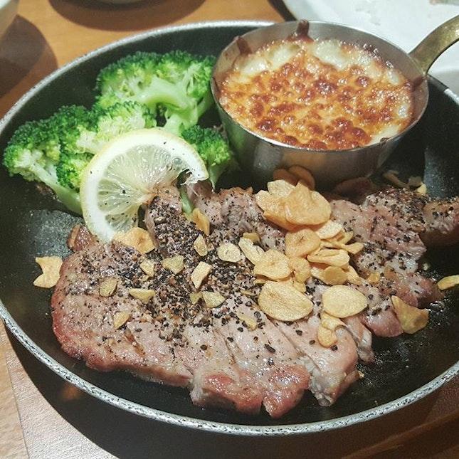 kurobuta pork steak with mash potato and cheese gratin!