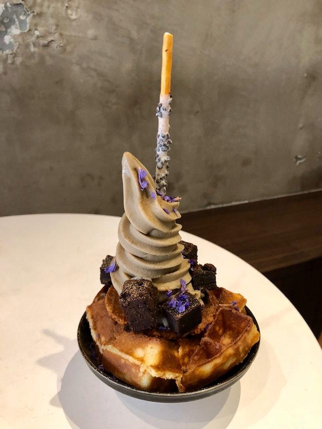 Houjicha Soft Serve On Waffle [$9.50]