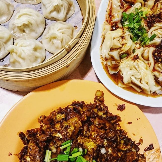 Last night's dinner - Xiao long bao, spicy dumplings and black carrot cake.