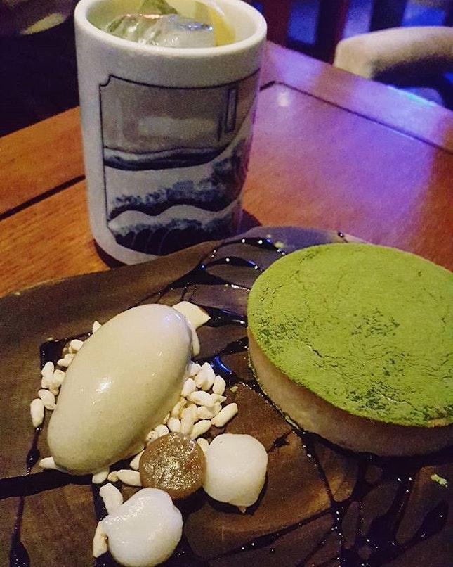 Dessert Matcha white chocolate and cream cheese tart with dango, kuromitsu and hojicha ice cream.