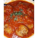 Home-made meat balls in an amazing tomato sauce.