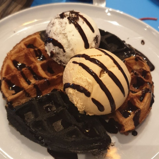 Mixed Batter Waffle with Ice Cream