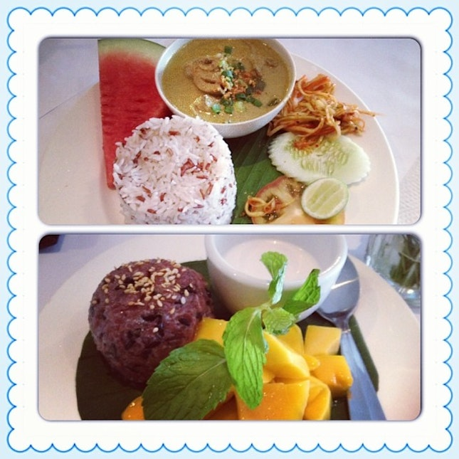 #mango#sticky#rice#green#curry#lunch