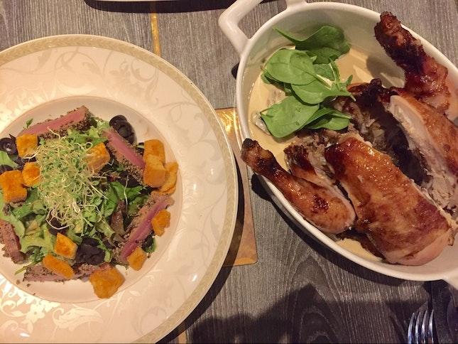 Tuna Salad And Whole Chicken With Mushroom Chardonnay