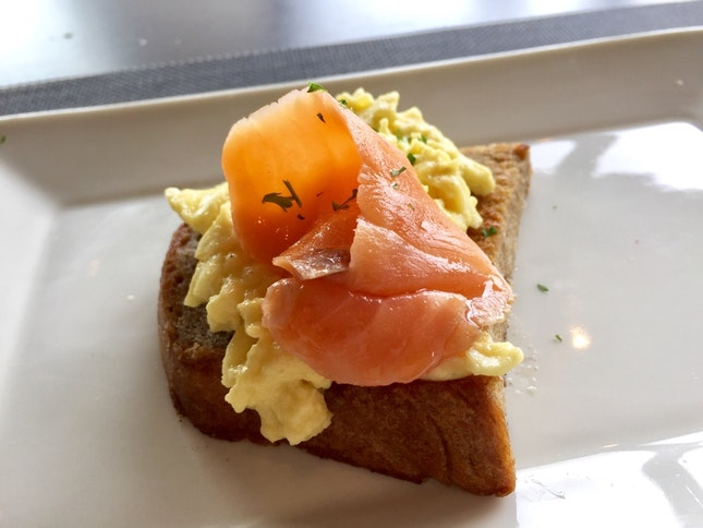 Salmon And Scrambled Eggs On Toast