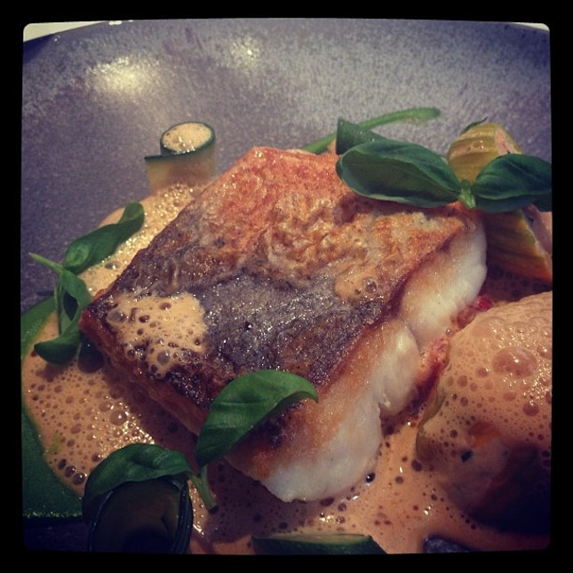 Hake, stuffed courgette flowers, crab bisque @ Pied a Terre