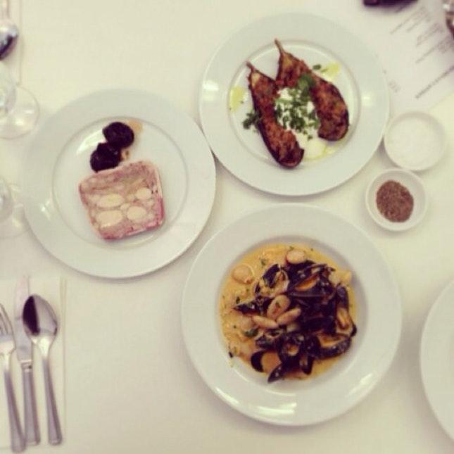 Rabbit Terrine & Pickled Prunes/ Aubergine & Spiced Basmati/ Mussels & Butterbeans