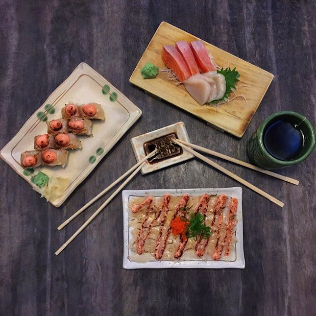 Hotate Salmon Aburi [$18.90] Sake and Hotate [$4.90 , $6] Scallop Mentaiyaki [$13.90] .