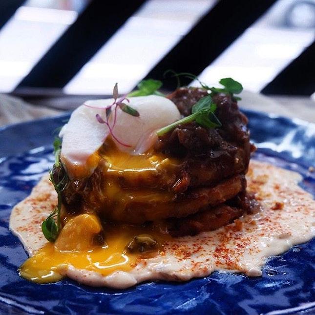 Beef cheek on potato pancake [$22] .