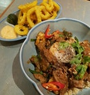 ●Pork belly and prawn served under vietnamese brown fragrant rice.