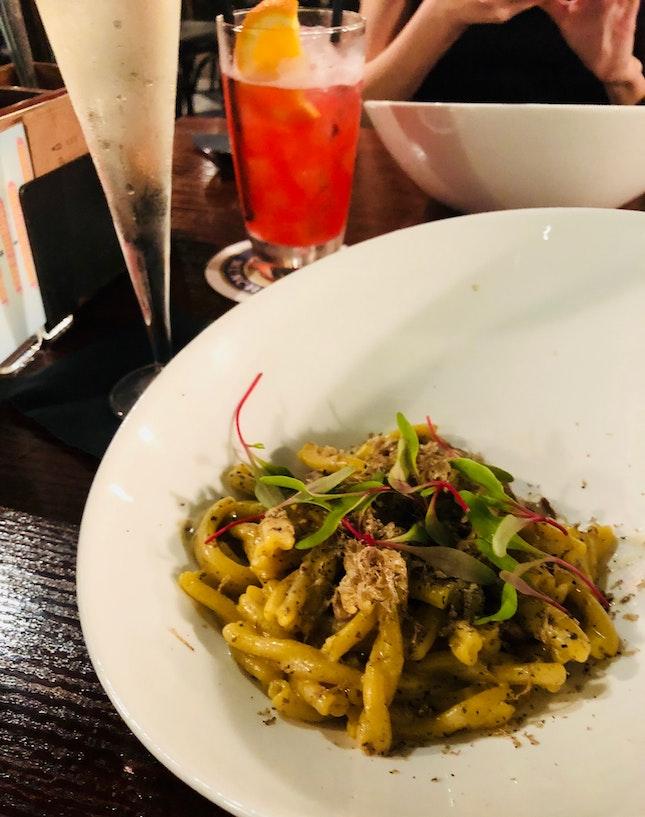 Casserecce with Truffle Pesto and Porcini Mushrooms
