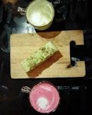 Red Velvet Latte, Matcha Latte and Avocado Lime Cake.