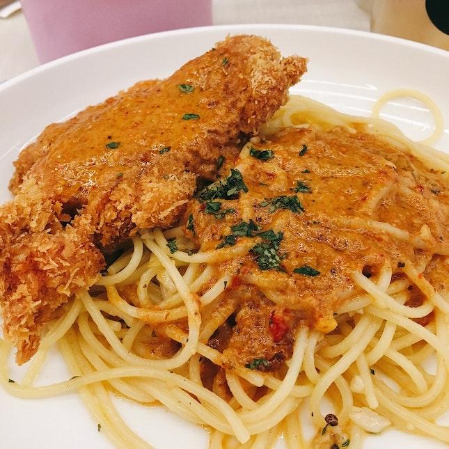 Spaghetti With Battered Chicken & Laksa Sauce